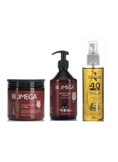Biomega Biomega Argan Keratin Maske 500 Ml+40 Bitkili Bakım Yağı 150 Ml+Sülfatsız Eşek Sütü Şampuanı 500 Ml Renksiz